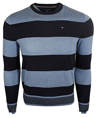 - Tommy Hilfiger Womens Signature V-Neck Logo Sweater (Large, Navy)