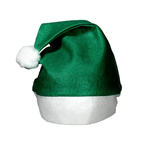 (12 Pack) Green Felt Christmas Santa Hats -