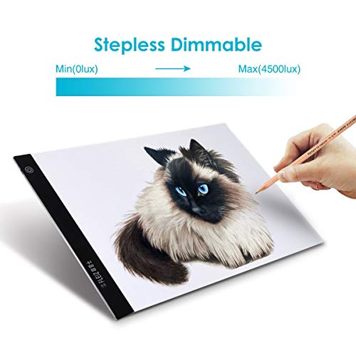 LED Tracing Light Box Elfeland A4 Size Ultra-Thin Painting Light Pad USB Power Cable Dimmable Brightness Portable Artcraft Painting Light Pad for Artists Drawing Sketching Animation Designing