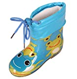 iDuoDuo Boy's Girl's Seasons Cute Cartoon Toggle Light Weight Anti Slip Rain Boots (Toddler/Little Kid) Blue 10 M US Toddler