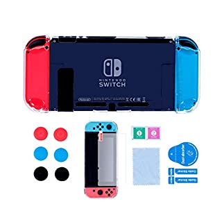 Accessories Case for Nintendo Switch, Dockable Protective Hard Cover Case for Nintendo Switch 2018 and Soft TPU Grip Case for Joy-Con with Tempered Glass Screen Protector and Thumb Stick Caps - Clear