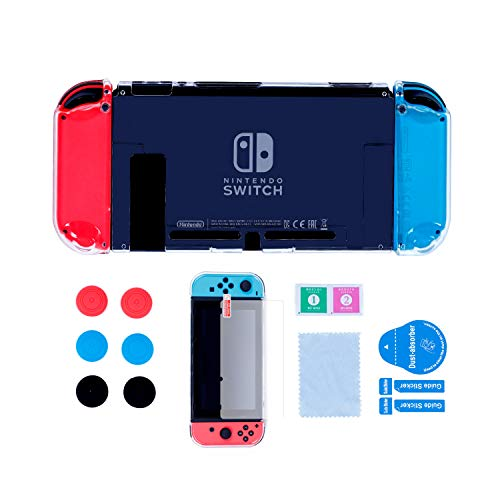 (Dockable Case for Nintendo Switch, Protective Hard Case for Nintendo Switch console and Soft TPU Grip Case for Joy-Con with Tempered Glass Screen Protector and 6 Thumb Grips - Clear)