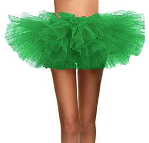 ASSN Women's Classic 80s Mini Puffy Tutu Halloween Run Bubble Ballet Skirt 6-Layered Grass-Green Plus -