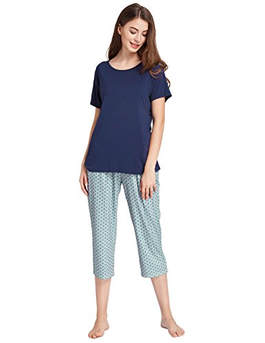 Zexxxy Pajamas for Women Cotton Sleep Shirt and Capri Lounge Pants Navy Blue Size XL (Pajamas Shirt Pants)