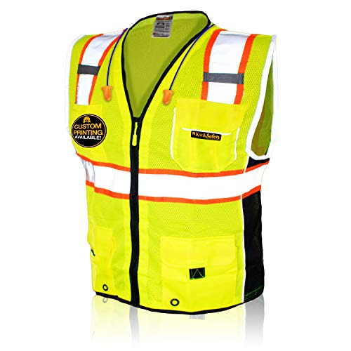 KwikSafety (Charlotte, NC) CLASSIC (10 Pockets) Class 2 ANSI High Visibility Reflective Safety Vest Heavy Duty Mesh with…
