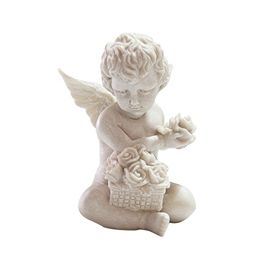 (Missley Easter Resin White Antique Angel Hands Holding Roses Decoration (Angle))