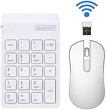 Juego de teclado 2 en 1. Combinación de teclado numérico y ratón óptico 2.4 G Mini USB numérico con receptor USB para oficina, portátil, PC de ...