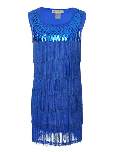On The Fringe Sexy Flapper Costumes (Anna-Kaci Womens Sequin Fringed Sleeveless Solid Color 1920s Flapper Party Dress, Blue, Medium)