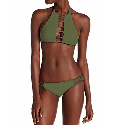 Brief Bikini Set (Fittoo Sexy Push Up Padded Bikini Set Criss Cross Lace Up Top Cheeky Bottom Beachwear Army Green XL)