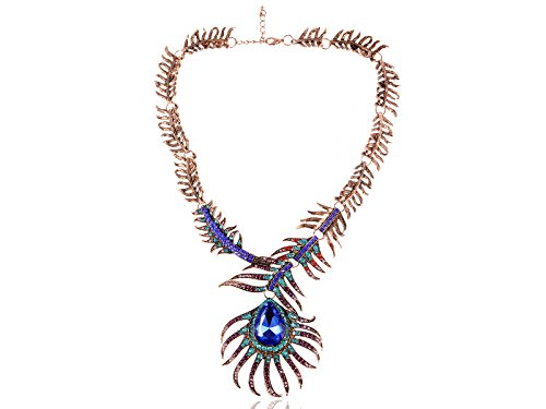 Alilang Copper Tone Multi Rhinestones Colorful Peacock Feather Statement Necklace