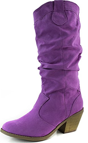 Qupid Muse-01Xx Magenta Faux Suede Women Cowboy Boots, 6 M -