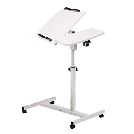 Inkach Height Adjustable Mobile Laptop Stand with Wheels – Laptop Table Over Bed Side Lap Desk Tray Table for Bed Sofa – Moveable Notebook Stand Bedside Computer Desk White