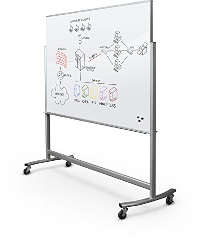 (Best-Rite Visionary Move Double Sided Mobile Magnetic Glass Whiteboard Easel, 4x6 Feet, (74951))