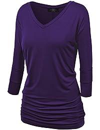 MBJ Womens 3/4 Sleeve Drape Top with Side Shirring - Made...