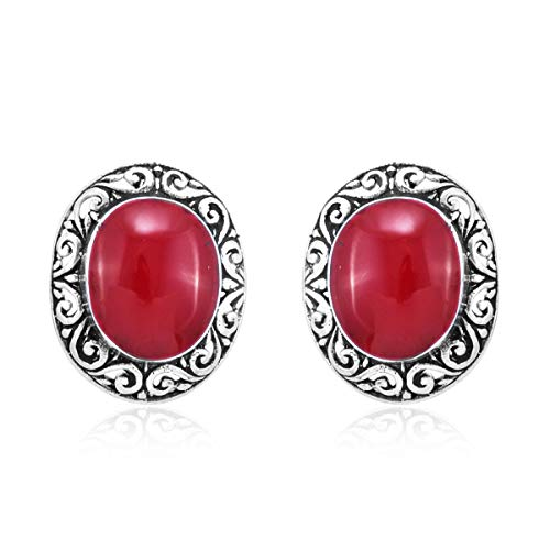 (Stud Solitaire Earrings 925 Sterling Silver Oval Sponge Coral Gift Jewelry for Women )