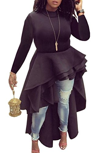 Ehcojdeb Women Ruffle High Low Asymmetrical Irregular Short Sleeve Tops Shirts Blouse Dress (Label XXX-Large=US 16, - Sleeve Short Shirt Ruffle