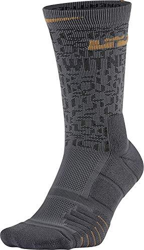 NIKE Elite Lebron Quick Basketball Crew Socks (Dark Grey/Black/Flt Gold, Small) (Gold And Black Nike Elite Socks)