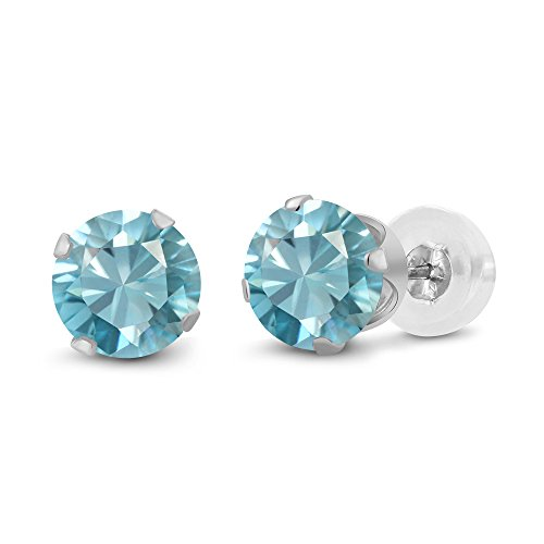 Gem Stone King 14K White Gold Blue Zircon Stud Earrings 1.00 Ctw Round -