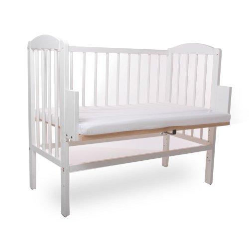 BABYBLUME Kinderbett Gitterbett Beistellbett Maria 90x40cm Weiss inklusive Matratze