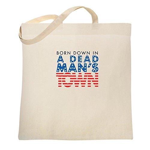 Lyrics Dead Man (Born Down In A Dead Man's Town Natural 15x15 inches Canvas Tote Bag 15x15)