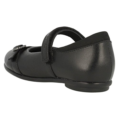 Clarks Tasha Bay Mädchenschule Junior Schuhe Black Leather