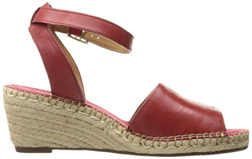 Clarks Kvinna Petrina Selma Wedge Sandal Rött Läder