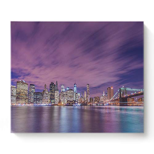 Canvas Prints Wall Art American Cities at Night and Skyscrapers Oil Paintings Decor for Living Room Bedroom Home Decorations Modern Stretched and Framed Giclee Artwork 8X12In