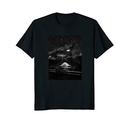 Mens UFO T Shirt - TR3B Triangle Spacecraft, Alien Tshirt XL Black