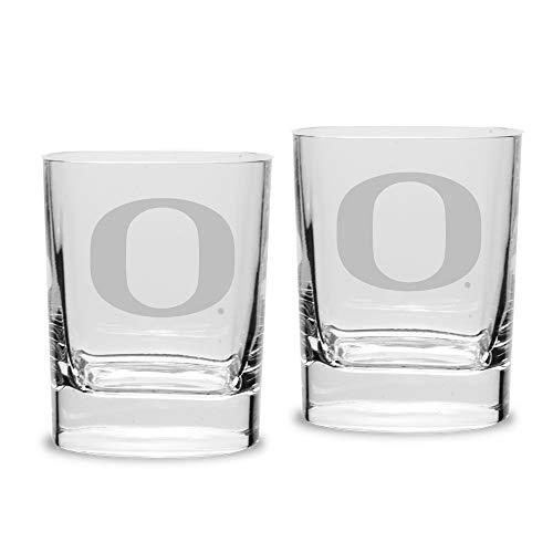 (NCAA Oregon Ducks Luigi Bormioli Square Round Double Old Fashion Glass - Set of 2, Clear, 11.75 oz)