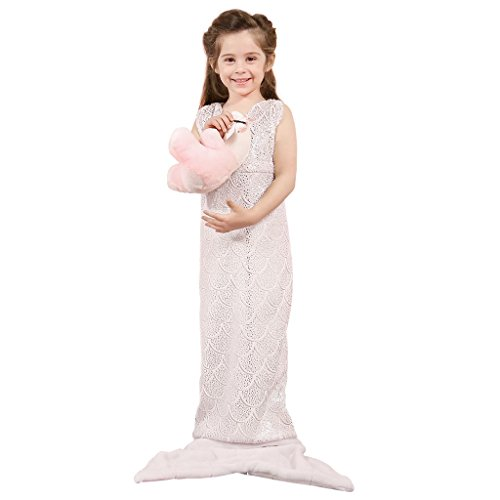 LANGRIA Soft Flannel Full-Body Kids Mermaid Tail Blanket with Halter Top All Season Snuggle Sleeping Life-Like Little Mermaid Glittering Warm Throw Blanket for Bed Sofa Couch (57 x 21 in, Baby Pink)