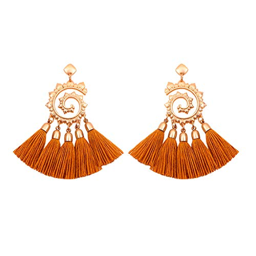 GDJGTA Earrings Womens Vintage Bohemian Metal Sun Flower Tassel Earrings Pendant Ladies Jewelry