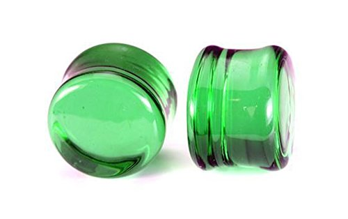 Painful Pleasures Flat Plugs Green Glass - Ear Gauge Jewelry - Price Per 1-19mm ~ 3/4