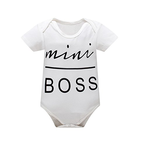 Yatong Baby Boys Girls Short Sleeve Bodysuit Onesies Baby Romper (6-12 Months, White1)