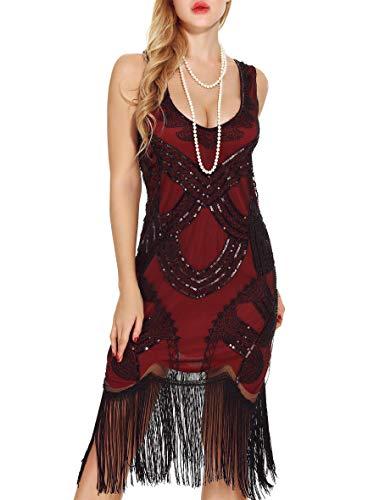Women's Retro Art Deco Great Gatsby Dresses- Vintage Sequin Fringed Cocktail Flapper Dresses (L, red) ()