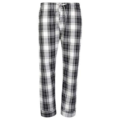 Bill Baileys Mens Woven Pajama Pants Lounge Pants Sleep Pants Bottoms Sleepwear (Medium, Black White Plaid)