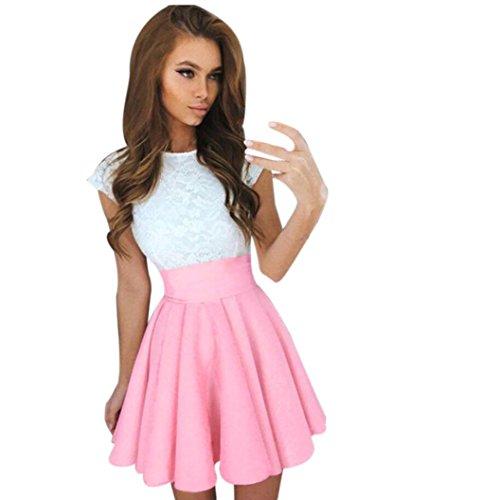 (2018 Women Summer Mini Dress, Short Sleeve Skater Lace Dress Party Cocktail Dresses (Pink,)