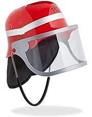 Relaxdays Brandweerhelm kinderen, met vizier, nekdoek en kinriem, verstelbare hoofdomtrek, brandweerman helm, rood
