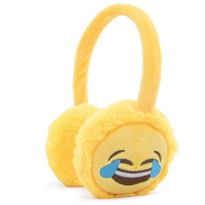 Smile Icon Over the Ear Plush Headphones (Laughing Face)