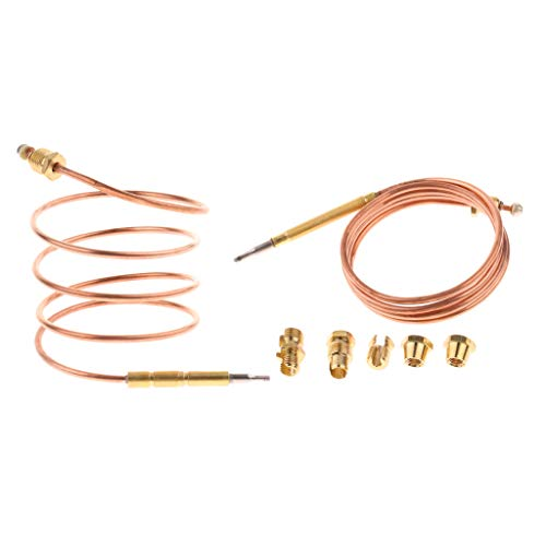 Almencla 2PCS 90cm Thermocouple Replacements with All Nut Adapters Set, Equipped with a Probe on top to Sense Temperature