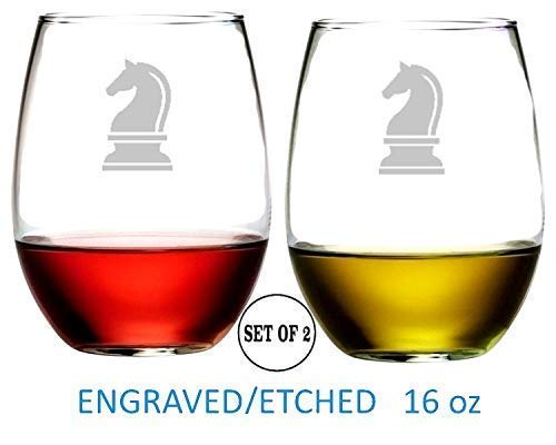 Chess Knight Stemless Wine Glasses Etched Engraved Perfect Fun Handmade Gifts for Everyone Set of 2 ()