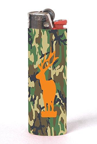 Elk Deer Orange on Camo Camouflage 2 PACK Vinyl Decal Wrap Skin Stickers for Bic Lighters by Moonlight Printing