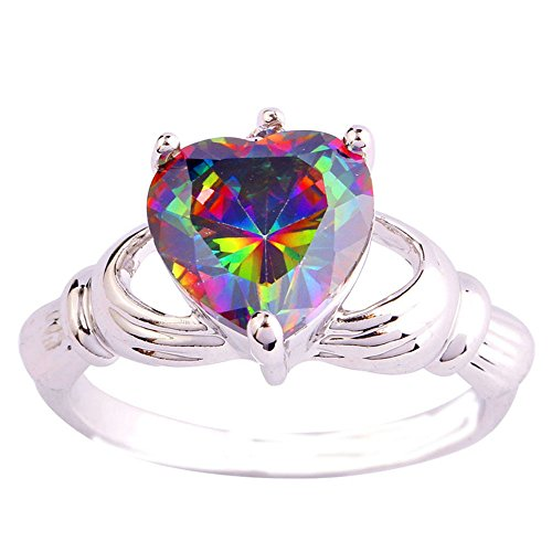 Empsoul 925 Sterling Silver Natural Chic Filled Irish Claddagh Friendship and Love Band Ring Heart Shaped Rainbow Topaz