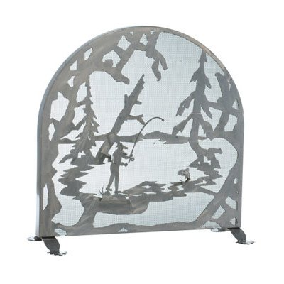 Meyda Tiffany Fireplace Screen - Fly Fishing Creek Arched 1 Panel Fireplace Screen