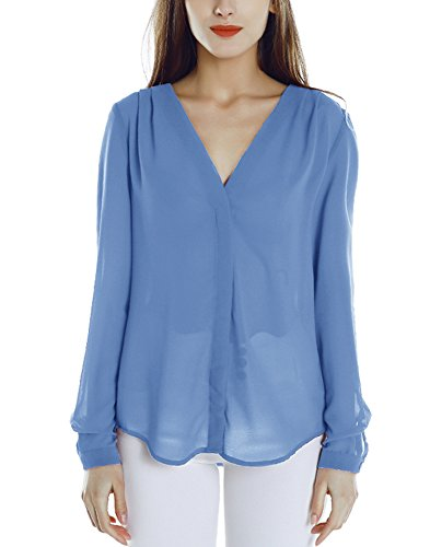 Urban GoCo Blusa de Gasa con Escote en V Mangas Largas y el Dobladillo en el Hombro para Mujeres azul claro
