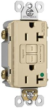 125V Hospital grade GFCI receptacle with night light Tamper Resistant IVORY 20A