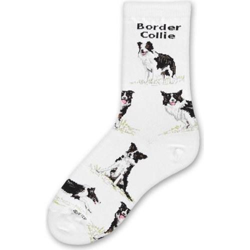 For Bare Feet Women's FBF Originals Novelty Dog Socks, Border Collie Poses, Medium ()