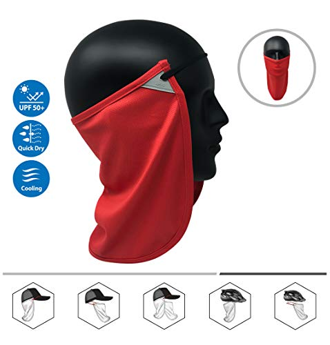 - CoolNES Neck or Face Sun Mask | 1 Product 2 Uses 1 Removable Universal Fit Headband with 1 Flap | Multifunctional Headwear 4 Season Performance | Cap | Hat | Bike Ski Helmet UPF 50 (CoolNES-NeonRed)