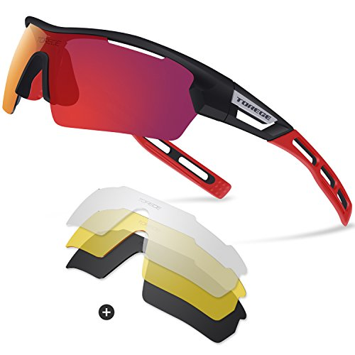 Torege Polarized Sports Sunglasses for Men Women Cycling Running Driving TR033( Black&Red tips&Red - For Sunglasses Jogging