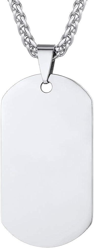 PROSTEEL Collar de Placa Personalizable Opcional, Foto Personalizable, Dog Tag ID Identificación Información médica para Emergencia Fecha Nombre Memorable Cadena 55cm Ajustable