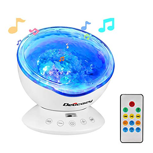 Ocean Wave Projector,Delicacy 12 LED Remote Control Undersea Projector Lamp,7 Color Changing Music Player Night Light Projector for Kids Adults Bedroom Living Room Decoration by Delicacy